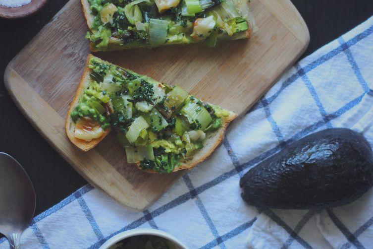 Leek, Roasted Garlic, and Avocado Toast