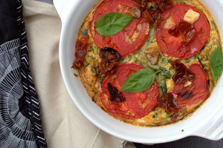 Chorizo, spinach & tomato frittata