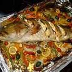 Whole Fish Roasted with a Medley of Vegetables