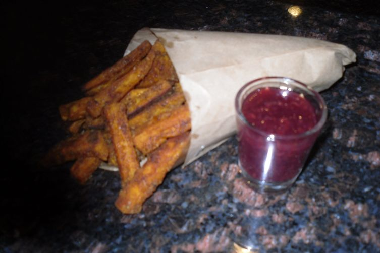 Spicy Sweet Potato Pommes Frites with Raspberry Preserves