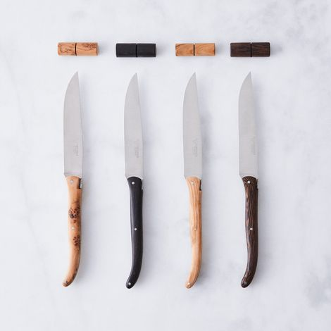 Laguiole en Aubrac Mixed Wood Steak Knife with Knife Rest (Set of 4)