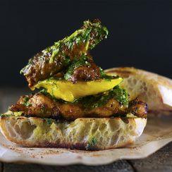 Mango & Smoked Chorizo Sandwich with Blackened Chicken and Chimichurri