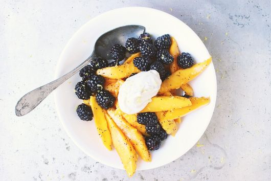 Blackberry + Mango Lemon Poppy Seed Salad with Earl Grey Whipped Coconut Cream