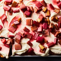 Slab Shortcake with Roasted Rhubarb
