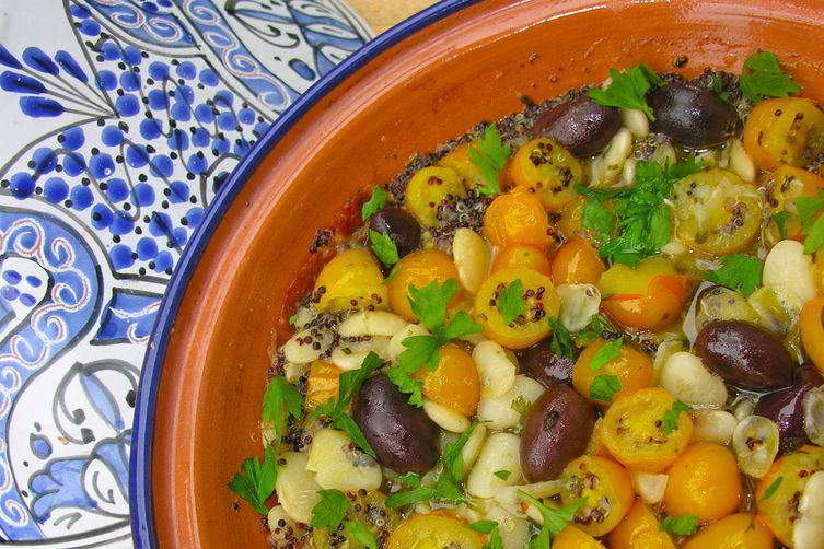 Herbed yellow cherry tomato, white lima bean and black quinoa medley