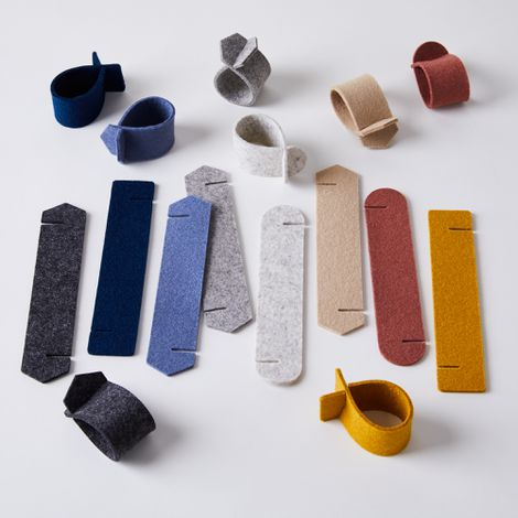 Foldable Geometric Felt Napkin Rings (Set of 6)