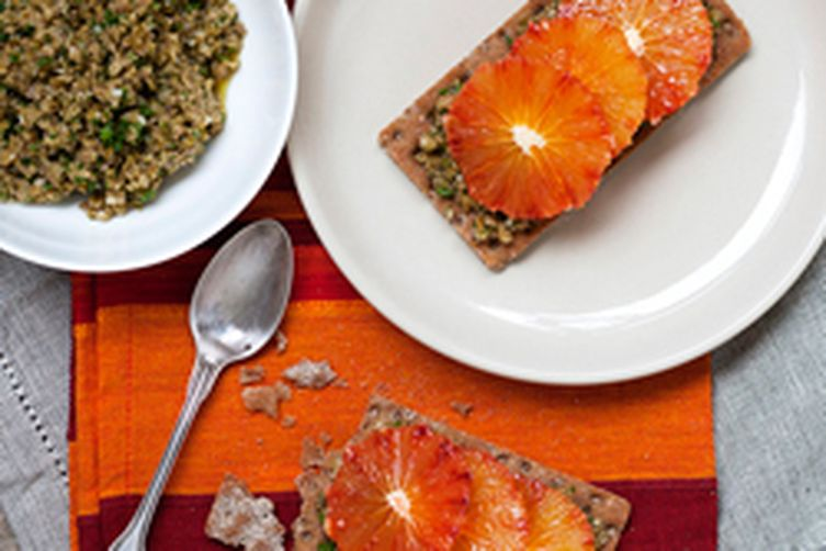 Blood Orange and Green Olive Tapenade Tartines