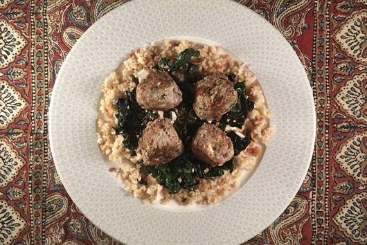 Za'atar Turkey Meatballs with Chard and Bulgur