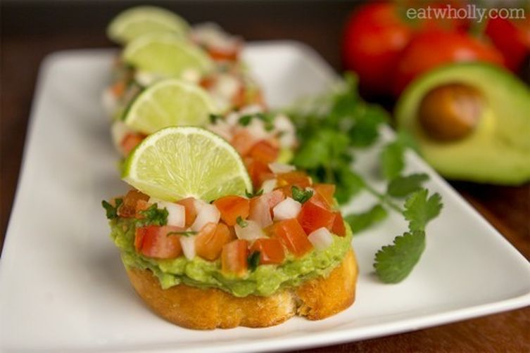 Guacamole Bruschetta Toasts by Wholly Guacamole
