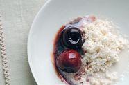 Almond Ice with Glazed Cherries