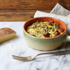 Baked Lamb with Eggs, Cheese, and Peas