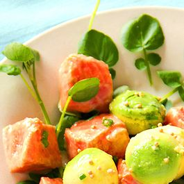 Marinated Salmon with Avocado, Watercress & Mustard Seeds