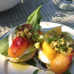 Mozzarella With Persimmon, Serrano Ham and Pistachio Fennel Oil Crostini