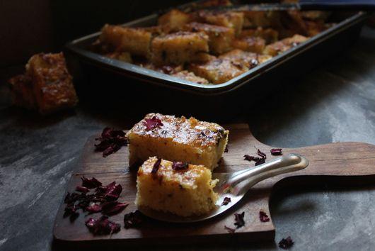 SEMOLINA YOGURT ROSE PETAL CAKE/ROSE FLAVOURED BASBOUSA