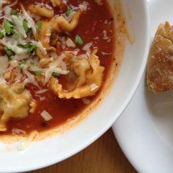 Spicy Tomato & Meatball Ravioli Soup