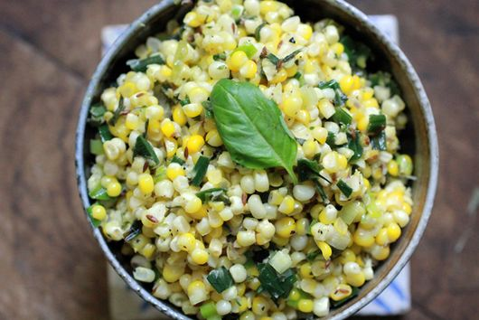 South Indian Stir-Fried Corn with Basil and Leeks