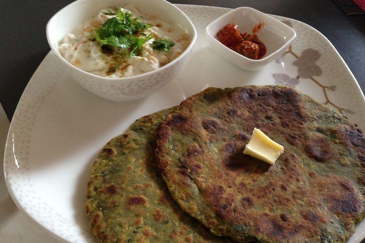 Palak Parantha - Spinach Tortillas