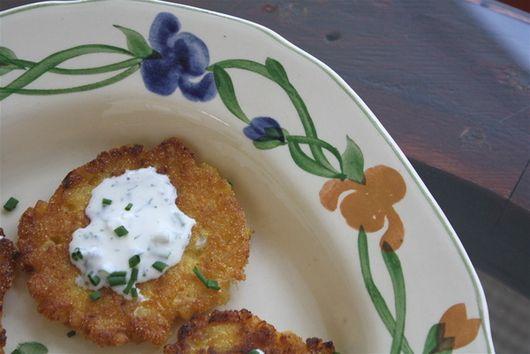 Corn Cakes with Lemon Chive Crème Fraiche