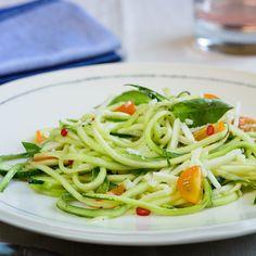"Zucchini ""Pasta"" with Sun Gold Tomatoes, Basil, & Pecorino Romano"