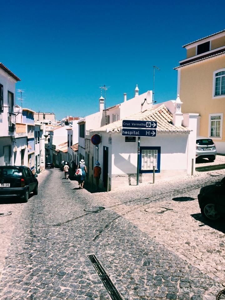 The narrow cobblestone streets of Lagos, Portugal.