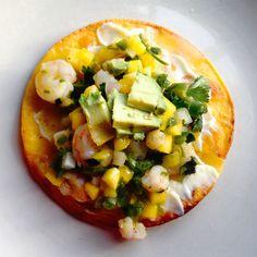 """Mango Avocado Shrimp """"Ceviche"""" + Crunchy Tostadas"""
