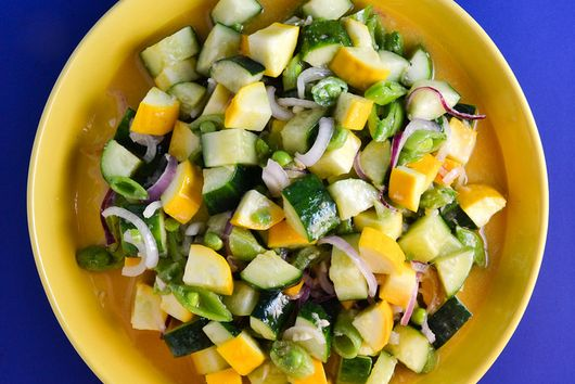 Summer Squash, Cucumbers, And Snap Peas With Miso Dressing