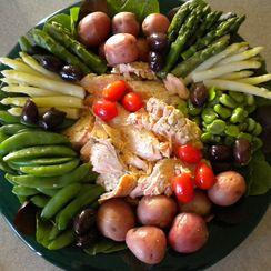 Spring Vegetable and Salmon Nicoise Platter