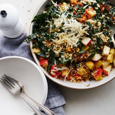 Kale & Bulgur Salad with Brown Butter Apple Vinaigrette