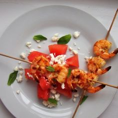 Watermelon and prawns salad