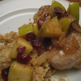 Apple Cranberry Pork Chops with Whole Wheat Couscous