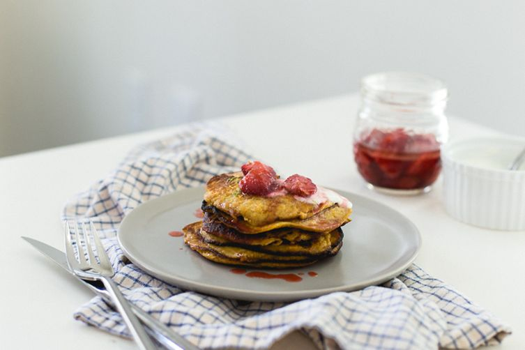 Sweet Potato Banana Pancake & Strawberry Glaze