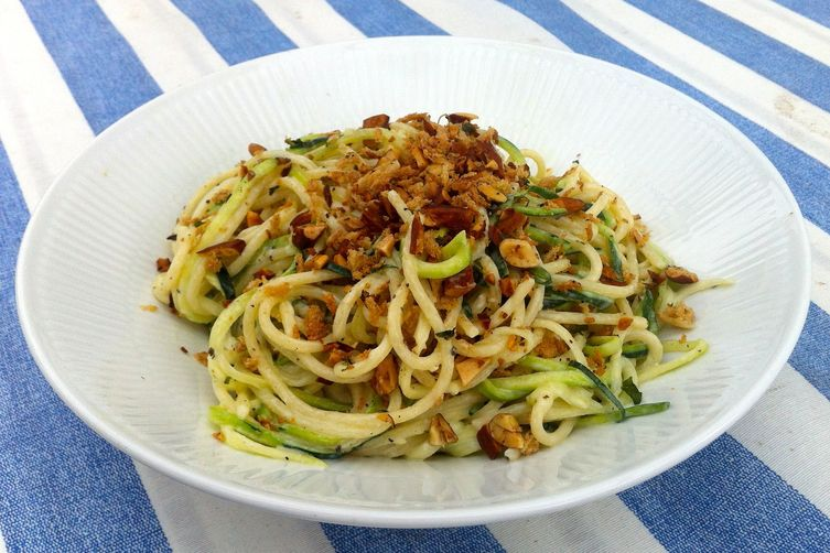 Zucchini pasta with goats cheese and roasted almond crunch