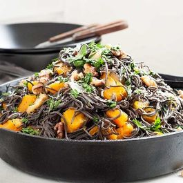 Roast Pumpkin, Avocado, Feta & Black Bean Spaghetti