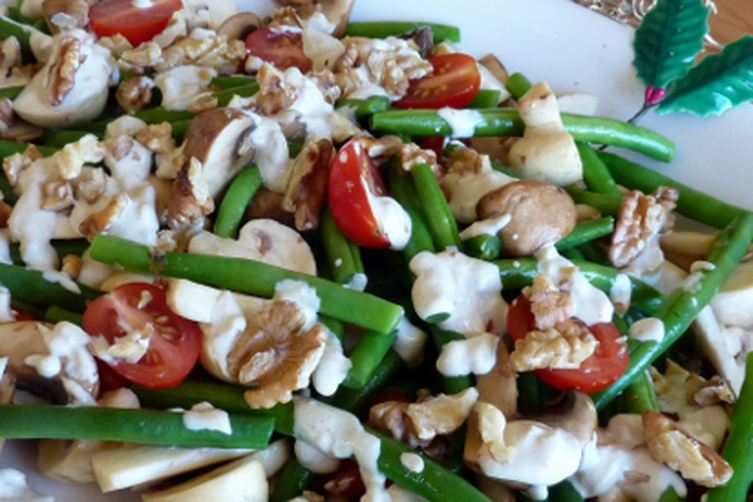 Marinated Mushroom, Green Bean, Cherry Tomato & Walnut Salad
