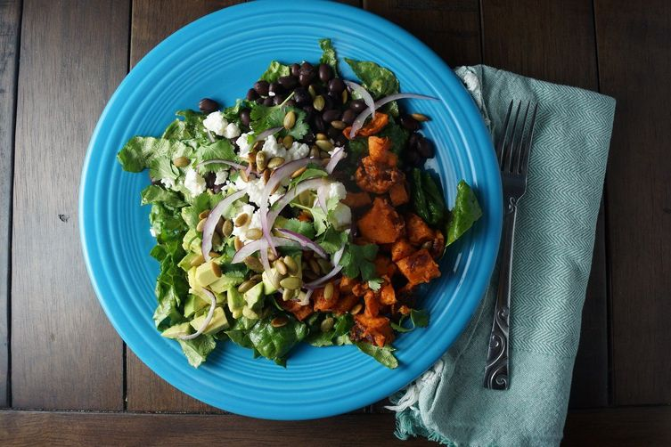 Food 1 2016 3 24 Chopped Spring Salad >> Avocado, Black Bean & Sweet Potato Chopped Salad Recipe on ...