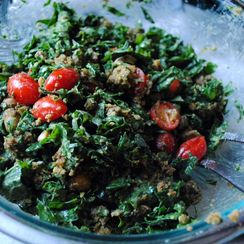 Smashed Falafel and Kale Salad with Lemon-Tahini Dressing