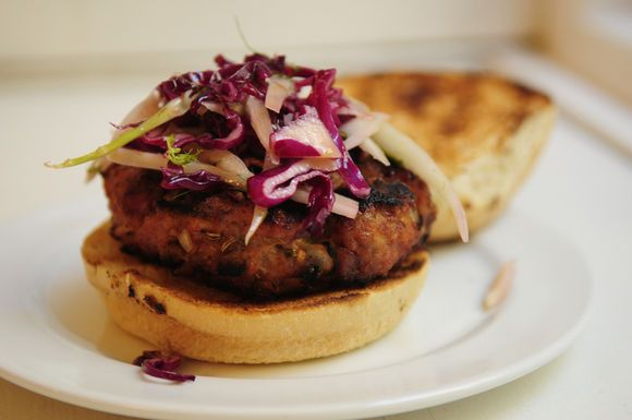 Smoky Pork Burgers with Fennel and Red Cabbage Slaw by ...