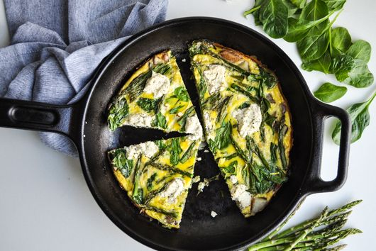 Spring Vegetable and Goat Cheese Frittata
