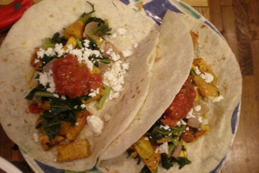 Butternut Squash and Poblano tacos