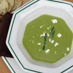 Creamy Asparagus Soup with Roasted Garlic & Chive Chevre