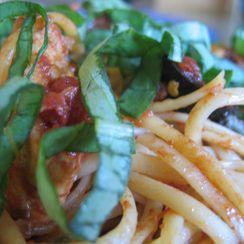 Pasta Puttanesca w/ Chicken & Basil