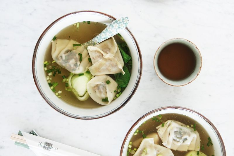 Vegetable Wonton Miso Soup