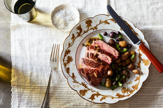 Roast Duck Breast with Green Peppercorns & Tiny Roast Potatoes