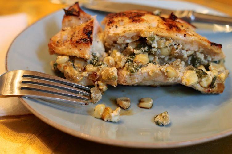 Poblano and Corn Stuffed Chicken
