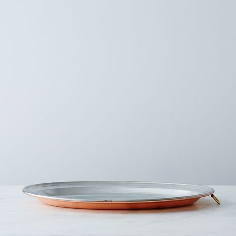 Vintage Copper Oval Platter, Late 19th Century