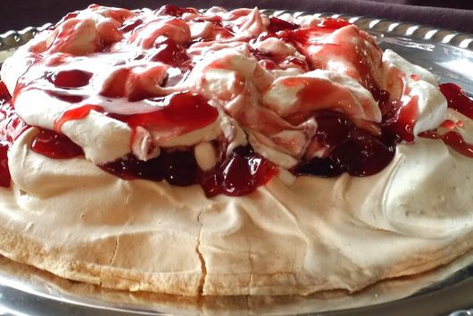 Cherries in the Snow Pavlova