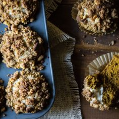 pumpkin cream cheese muffins with walnut streusel