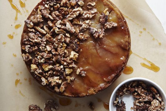 Brown Sugar Apple Upside-Down Cake with Apple Cider Caramel & Spiced Walnuts
