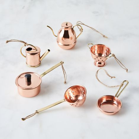 Vintage-Inspired Copper Cookware Ornaments