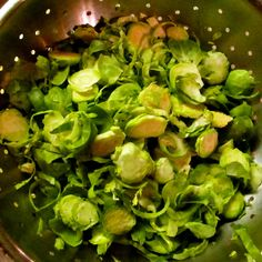 Pasta with Brussels Sprouts, Guanciale Bits, Lemon and Almonds